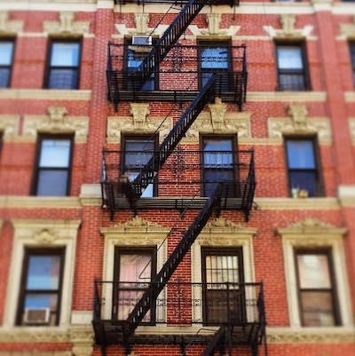 fire escapes on a tenement