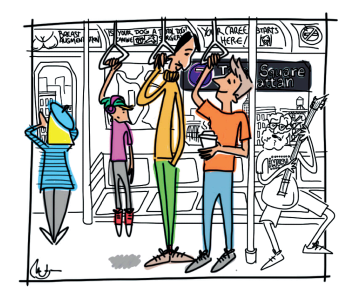 Tour group on the subway