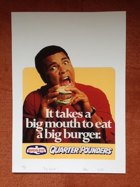 Muhammad Ali eating a hamburger