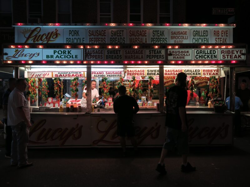 Sausage Booth at the Feast of San Gennaro, a yearly event in September in Little Italy