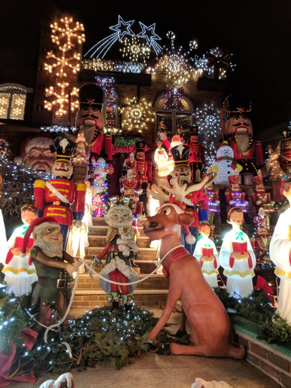 House decorated for Christmas in Dyker Heights