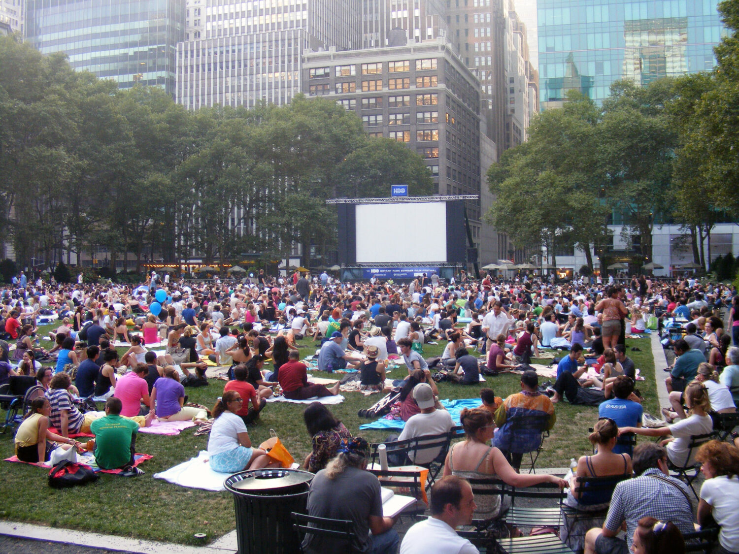 Large crowd on the Bryant Park Lawn for the HBO sponsored movie night.